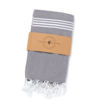Ticking Stripes Hamam Handduk Dusty Fog