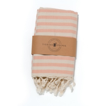 Ticking Stripes Hamam Handduk Fresh Coral