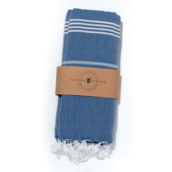 Ticking Stripes Hamam Handduk Royal Blue Grande