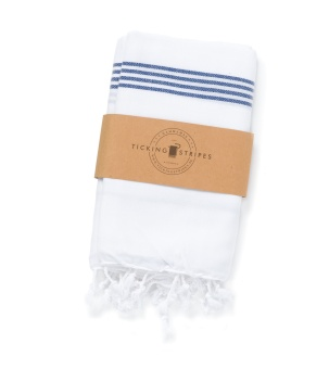 Ticking Stripes Hamam Handduk White with Royal Blue Stripes