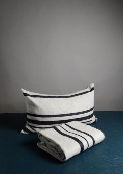 Dirty Linen Strip Kudde Offwhite/Navy