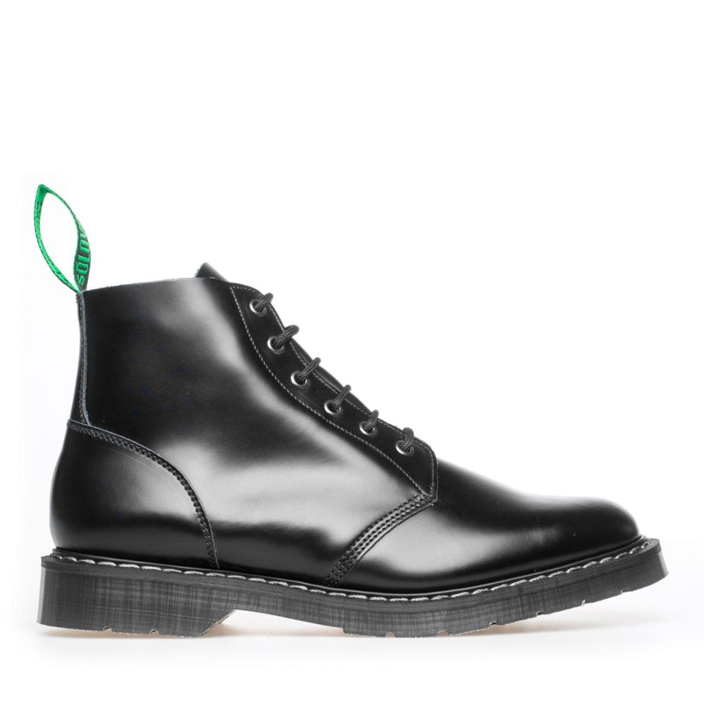 Black 6 Eye Derby Boot hi-shine black