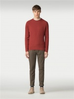 Textured Crew Neck Jumper Burnt orange