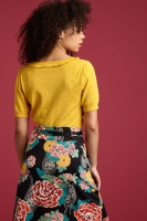 Ruffle V Neck Top Droplet mimosa yellow