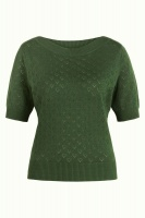 Audrey Top Heart Ajour forest green