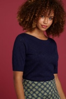 Audrey Top Heart Ajour nuit blue