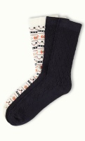 Socks 2-Pack Alpine black/creme