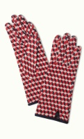 Glove Geo poppy red
