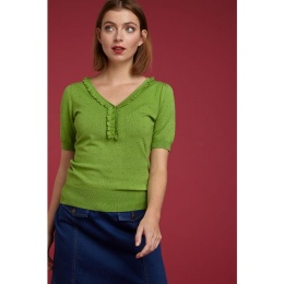 Ruffle V Neck Top Droplet Kiwi green