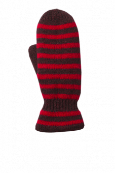 Striped Mitten Ladies Vinröd/ Röd