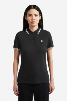 Twin Tipped Fred Perry Shirt Black / White