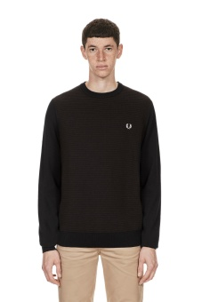 Textured Crew Neck Jumper black/brown