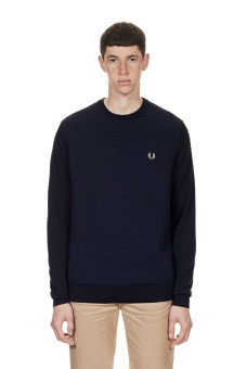Textured Crew Neck Jumper navy/kornblå