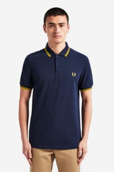 Twin Tipped Fred Perry Shirt Carbon Blue / Sunglow