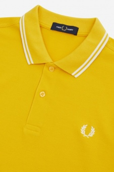 Twin Tipped Fred Perry Shirt Sunglow / White