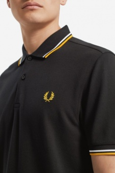 Twin Tipped Fred Perry Shirt Black/ White / Sunglow