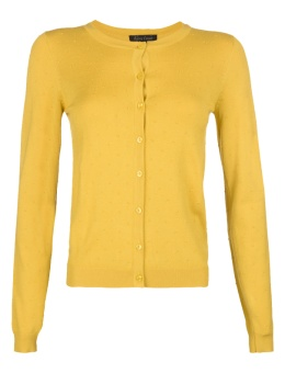 Cardi Roundneck Droplet yellow