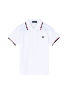 Kids polo shirt white/red/navy