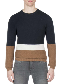 Textured Color Block Crew Neck
