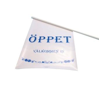 Fasadflagga Vit med blå text ÖPPET