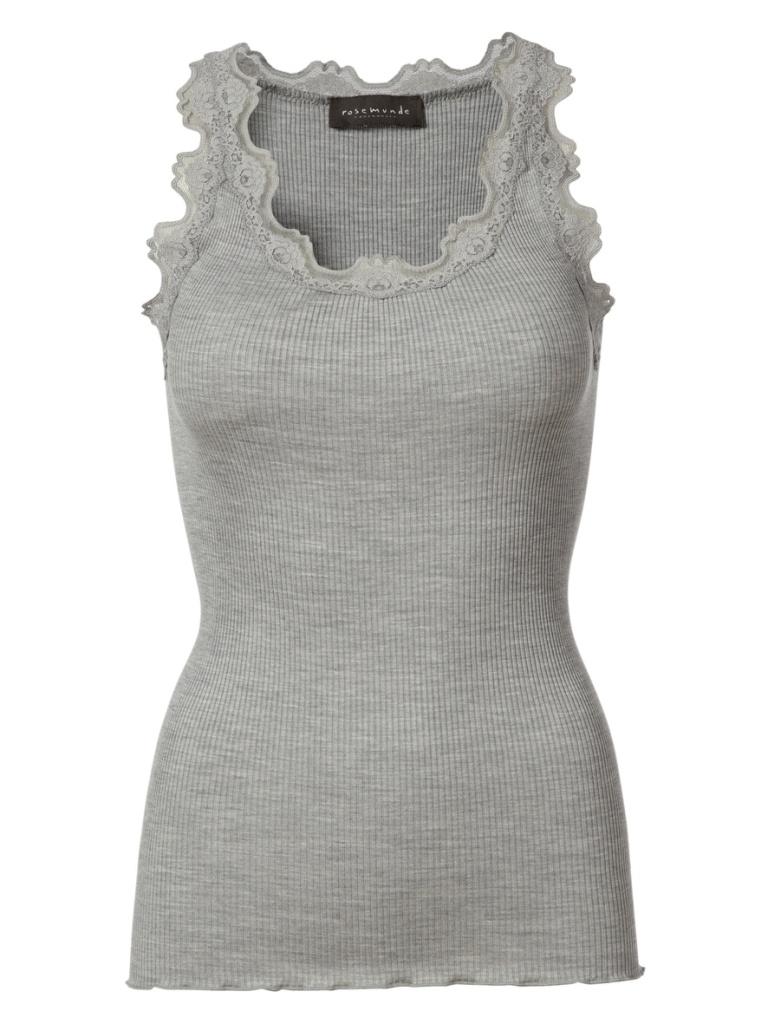 Silk Top With Vintage Lace - Light Grey Melange