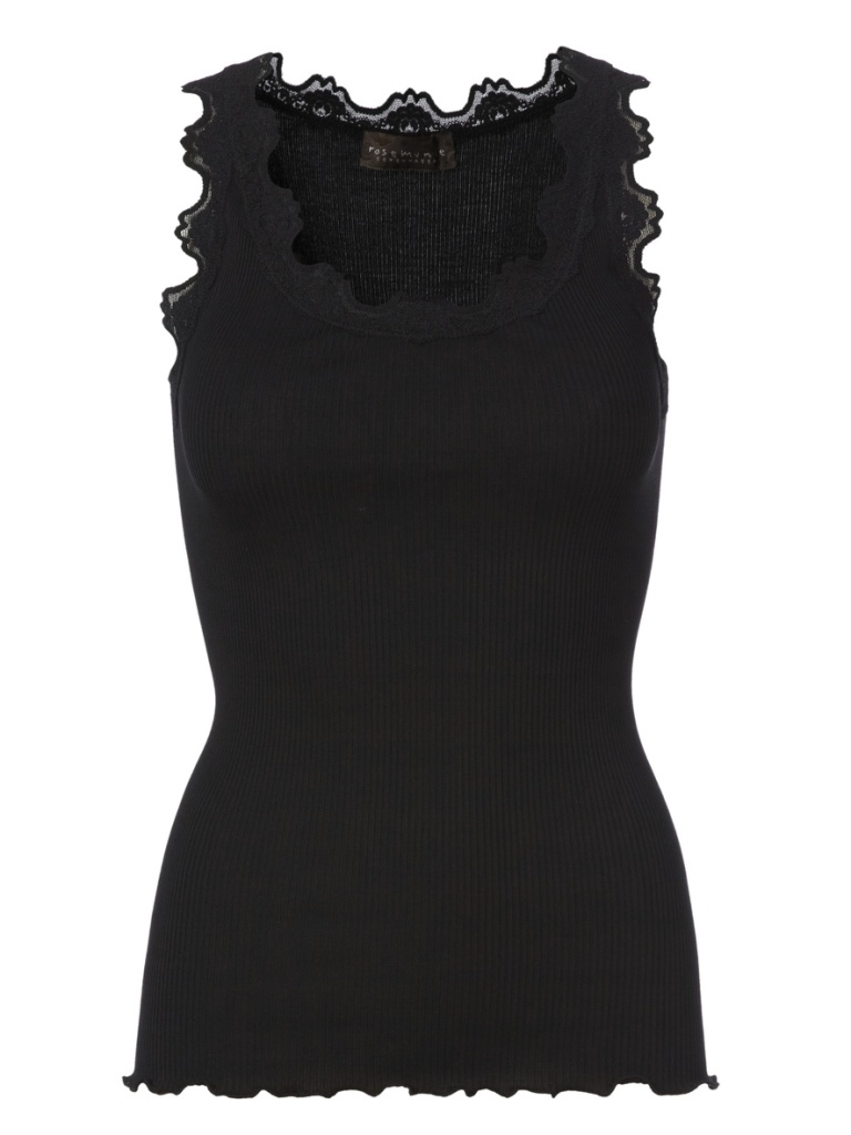 Silk Top With Vintage Lace - Black