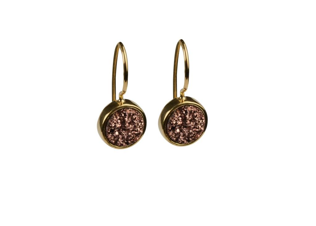 Frances Druzy Earrings -Gold Rose