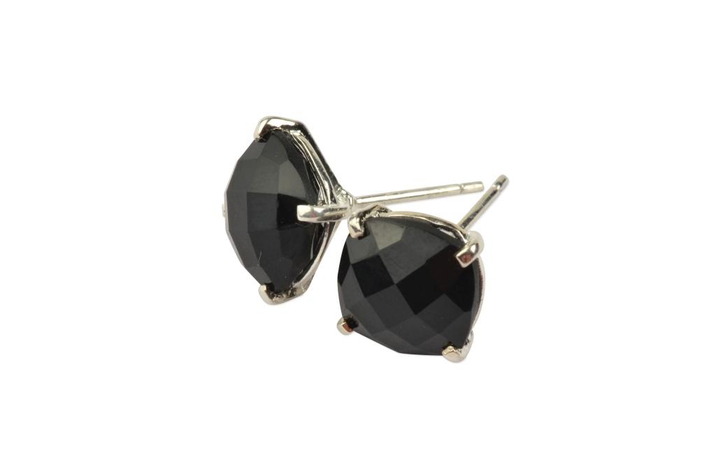 Cushion Stud Earrings Silver - Black Onyx