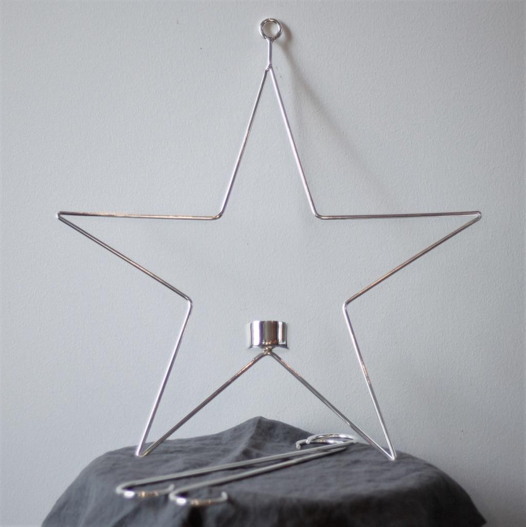 Ljusring Stjärna Oval 39 cm - Silver