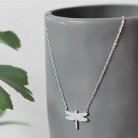 Dragonfly Necklace Sparkle - Steel