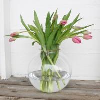 Glasvas med Läderband - Ø 24 cm