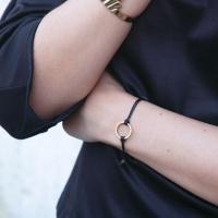 Circle Cord Bracelet - White/Gold