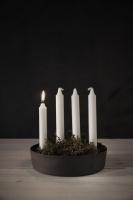 Ljusskål, 4 kronljus - Vit