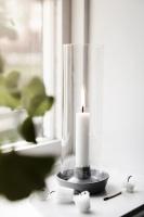Ljusstake i stengods & glas - Vit