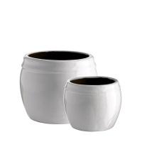 Kruka i keramik, H:13cm - Vit