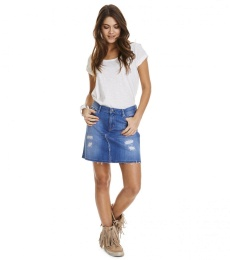 Stretch-n-raw jeans skirt - Mid blue
