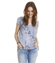 Under the sea s/s blouse - Dusty Blue