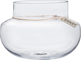 Glasvas med Läderband - H15 cm