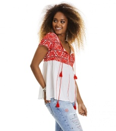Oh la la s/s blouse - Red