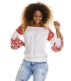 Oh la la l/s blouse - Red