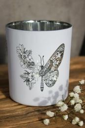 "Lykta ""Fjäril & Blommor"" - Vit"