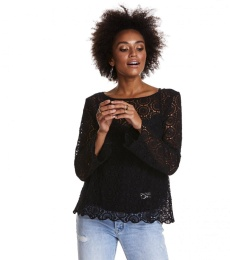 Bonfire l/s Blouse - Almost Black