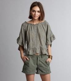 Clever Heart Blouse - Misty Cargo