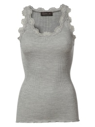 Silk Top With Vintage Lace - Light Grey Melange