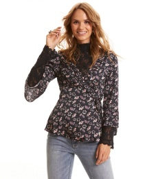Cosmic Moments Wrap Blouse - Almost Black