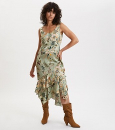 Molly Hooked Dress - Lichen Green