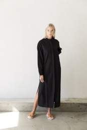 Ava Long Shirt Dress - Black