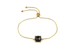 Single Cushion Bracelet Gold - Black Onyx