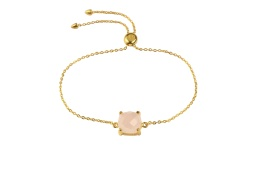 Single Cushion Bracelet Gold - Rose Quartz