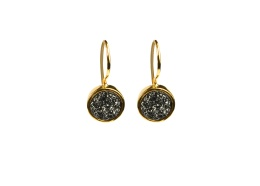 Frances Druzy Earrings - Gold Grey